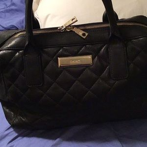 DKNY black quilted leather satchel medium